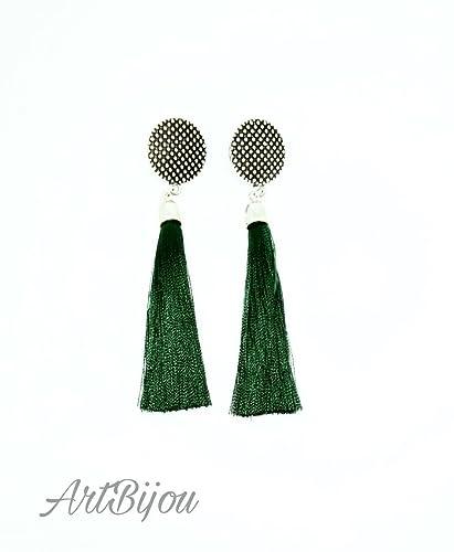 ade1202d75cd Pendientes Largos con Borla de Color Verde