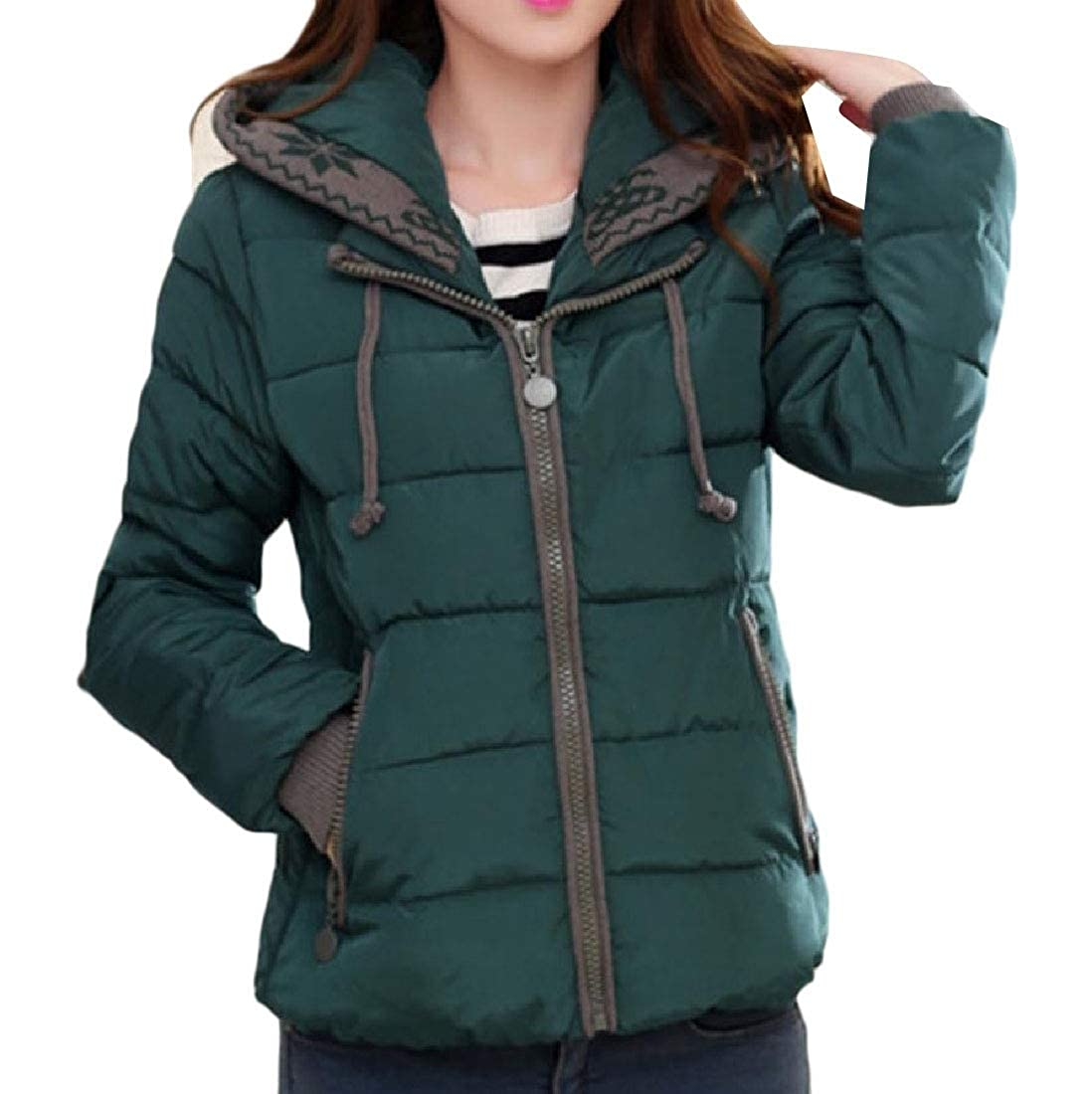 YUNY Womens Cotton Padded Snowsuit Quilted Hooded Loose Down Jacket Green XL