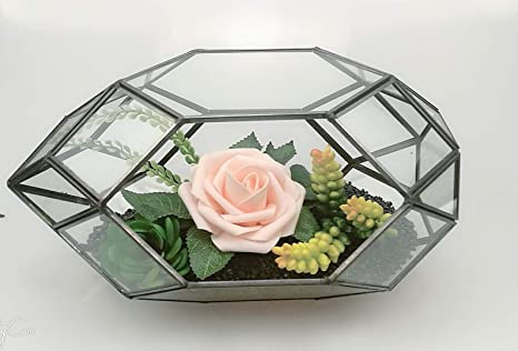 Amazon Com 11 Inch Large Geometric Glass Terrarium Handmade