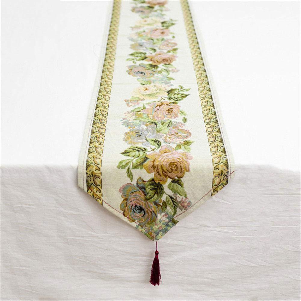 Xianjun Tischläufer aus Baumwolle, chinesischer Stil, Retrostil, Stickerei, Schmetterling, Blume, Haus, Tischläufer, niedriger A