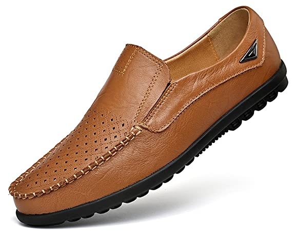 VanciLin Men's Casual Leather Fashion Slip-on Loafers Driving Shoes(Van228Hole-R.Brown39)