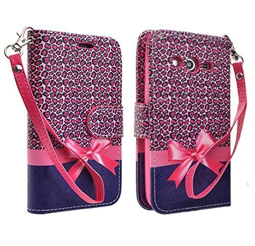 Samsung Galaxy Avant G386T Case, Hot Pink Leopard Magnetic Leather Flip Wallet Pouch Samsung Galaxy Avant G386 (T-Mobile), Slim Folio with Kickstand and Detachable Wrist Strip (Samsung Galaxy Avant G386 Case)