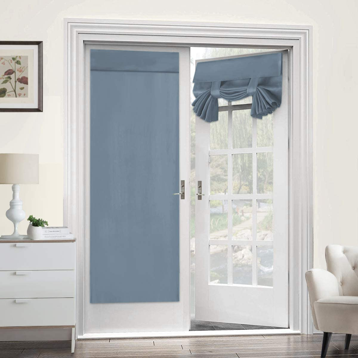 Turquoize Blackout Door Curtain Panel for French Door Curtains Solid Teal Curtains for Tricia Door Panel Single Panel-Thermal Insulated & Privacy Assured Window Drape - 1 Panel, Stone Blue