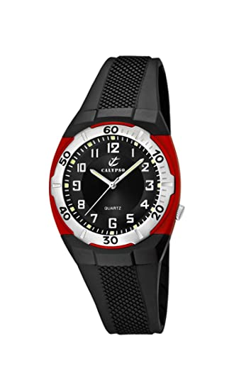 Calypso K5215/4 - Reloj analógico infantil de cuarzo con correa de plástico negra - sumergible a 50 metros: Amazon.es: Relojes