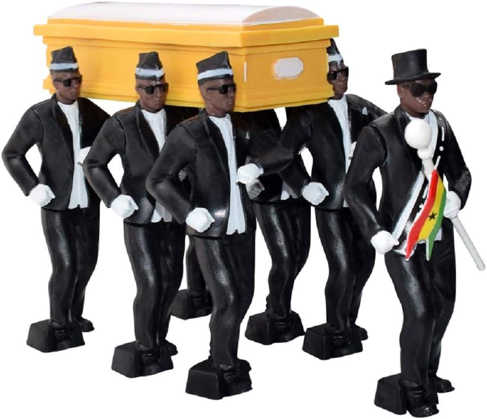 Horen 10 cm 8 piezas//6 piezas Ghana Pallbearers Dancing Team Ghana Dancing Cosplay Juguetes Hombre Negro africano Cargado Danza Modelo Kit para decoraci/ón de coche//escritorio