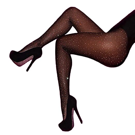 8640d9816 Yamer Black Sheer Stockings with Sparkle Rhinestone Pantyhose Long Plus  Tights