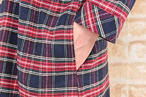 男女兼用スリーパー長袖パジャマ ネルタータンチェック地 秋・冬に適した素材