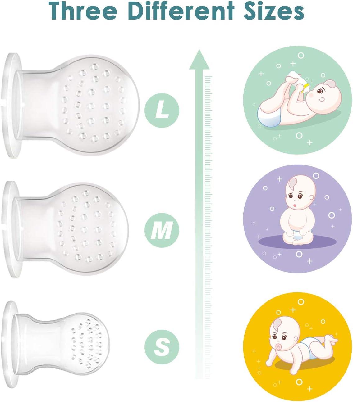 ANGELBLISS Alimentador antiahogo bebe 2 piezas chupete fruta bebe sin BPA alimentador bebe con pacifiers de 3 tama/ños diferentes