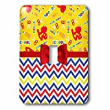 3dRose Anne Marie Baugh - Designs - Cute Love, School, School Supplies Over Chevron Stripes - Light Switch Covers - single toggle switch (lsp_282893_1)