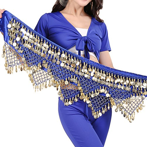 Pilot-tradeWomen's Sweet Bellydance Hip Scarf With Gold Coins Skirts Wrap Noisy Dark -