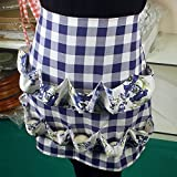 Kitchen Bib Apron with 12 Pockets Cotton Aprons for Women Collecting Eggs and Small Objects WQ06