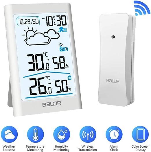 Termometro Igrometro Digitale per Temperatura Umidit/à Interno Esterno Wireless Stazione Meteorologica Meteo con LCD Display Sveglia Tempo Data Previsioni di Tempo Stazione Meteo con Sensore Estern
