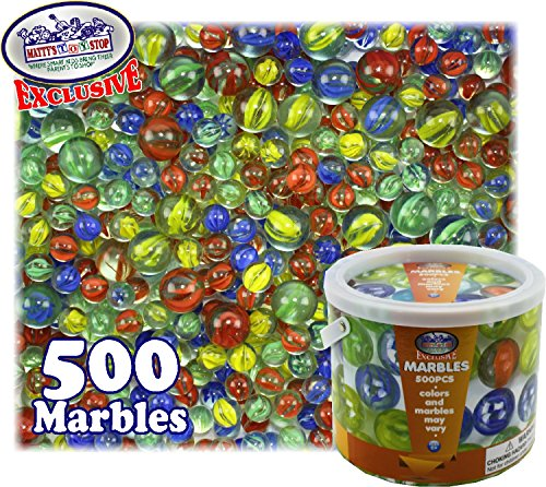 - Matty's Toy Stop Deluxe 500 Pieces (7.5 Pounds) of Cat's Eyes Marbles & Shooters with Exclusive Storage Bucket