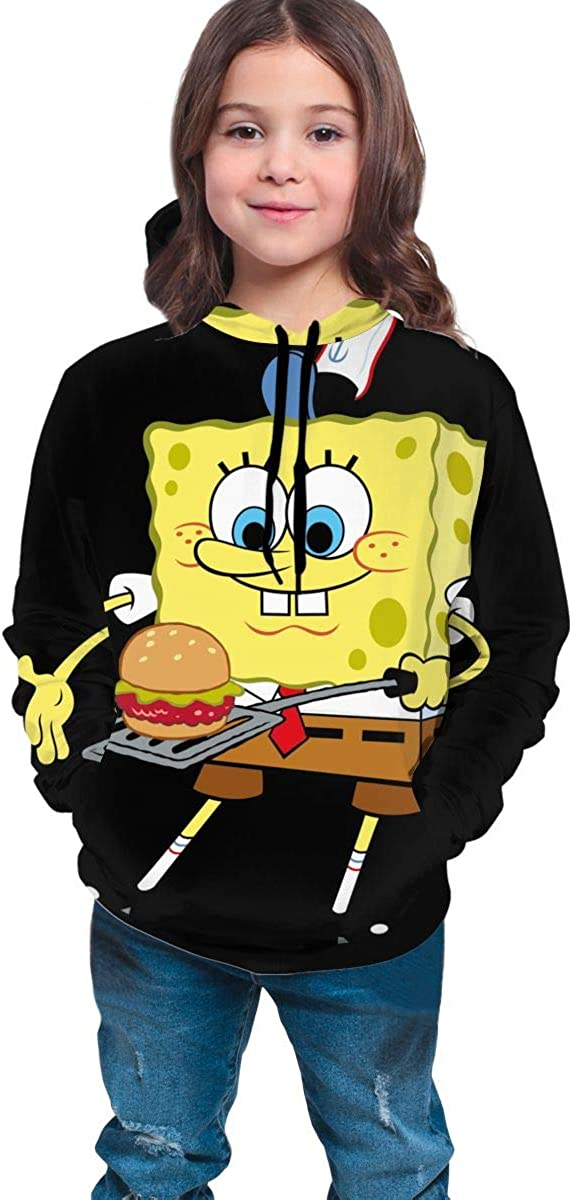 Spon/_ge/_Bob Funny and Good-Looking Teen Hooded Sweate Jacket Black Comfortable Classic Boy and Girl Unisex-Baby