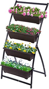 Taleco Gear 4-Ft Raised Garden Bed,Vertical Garden with 4 Container Boxes, Vertical Garden Planter for Outdoor Indoor Patio Balcony