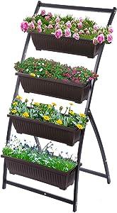 Taleco Gear 4-Ft Raised Garden Bed,Vertical Garden with 4 Container Boxes, Vertical Garden Planter for Outdoor Indoor Patio Balcony