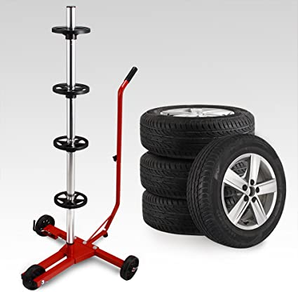 Deuba Felgenbaum 225 Mm Alu Fahrbar Inkl Schutzhülle 100kg Belastbar 3 Rollen Felgenhalter Reifenständer Reifenhalter Auto