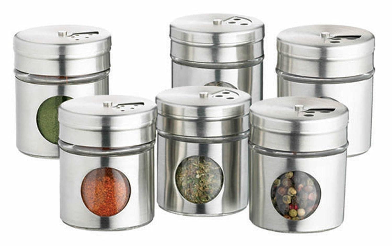 Kitchen Craft raccolta di sei barattoli di spezie in acciaio inox KCSPJARSET