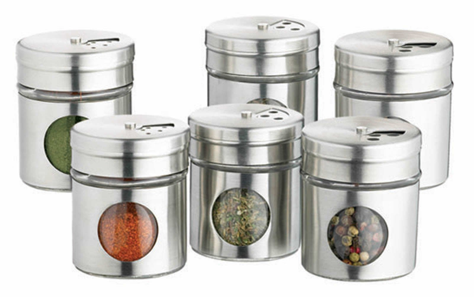 home made set of  stainless steel spice jars stylish storage - home made set of  stainless steel spice jars
