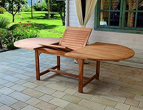 Tavolo Da Giardino Legno Allungabile.Tavolo Da Giardino In Legno Teak Ovale Allungabile Amazon