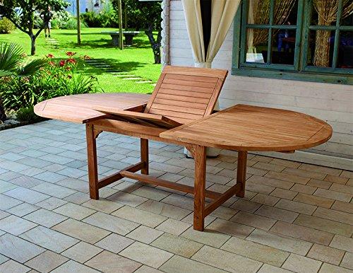 Tavolo Legno Da Giardino.Tavolo Da Giardino In Legno Teak Ovale Allungabile Amazon It