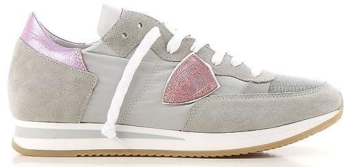 Philippe Model Donna Sneaker Paris Modello Tropez in Pelle e Tela Colore  Grigio Rosa TRLD 1114 be45b1c8b3e