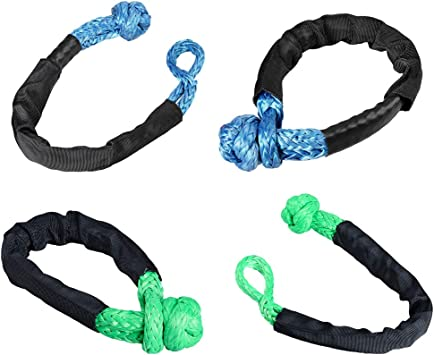 Astra Depot Set 1//2 Soft Shackle Rope Synthetic with Protective Sleeve 38,000LBs Max Breaking WLL 15,000LBs 7.5 Tons 2X, Blue Yellow