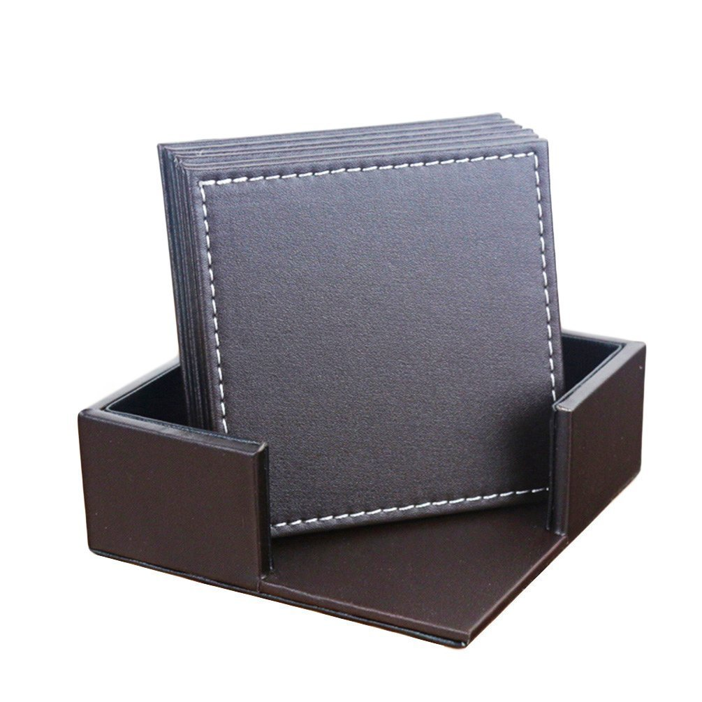 Willcome Set of 6 Leather Square Drink Coasters Cup Mats with Coaster Holder for Wine Beer or Any Beverage Use