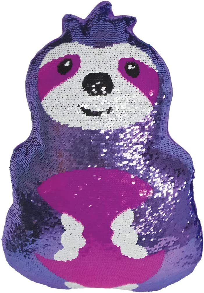 iscream Friendly Sloth 10 x 6.5 Reversible Sequin Soft Fleece Back Mini Pillow
