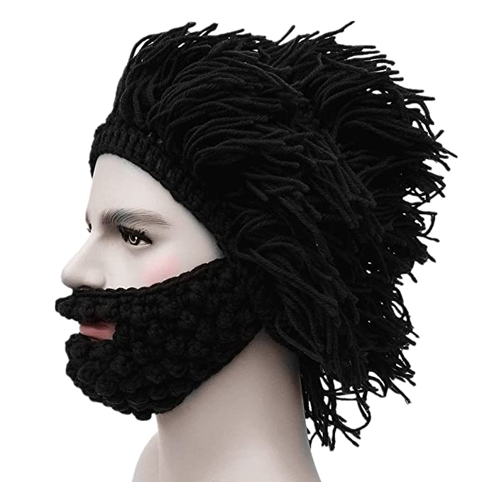 Kafeimali Men s Barbarian Knit Beard Hat Original Beanie Wind Mask Skull Cap  (Black) 33a462dd318