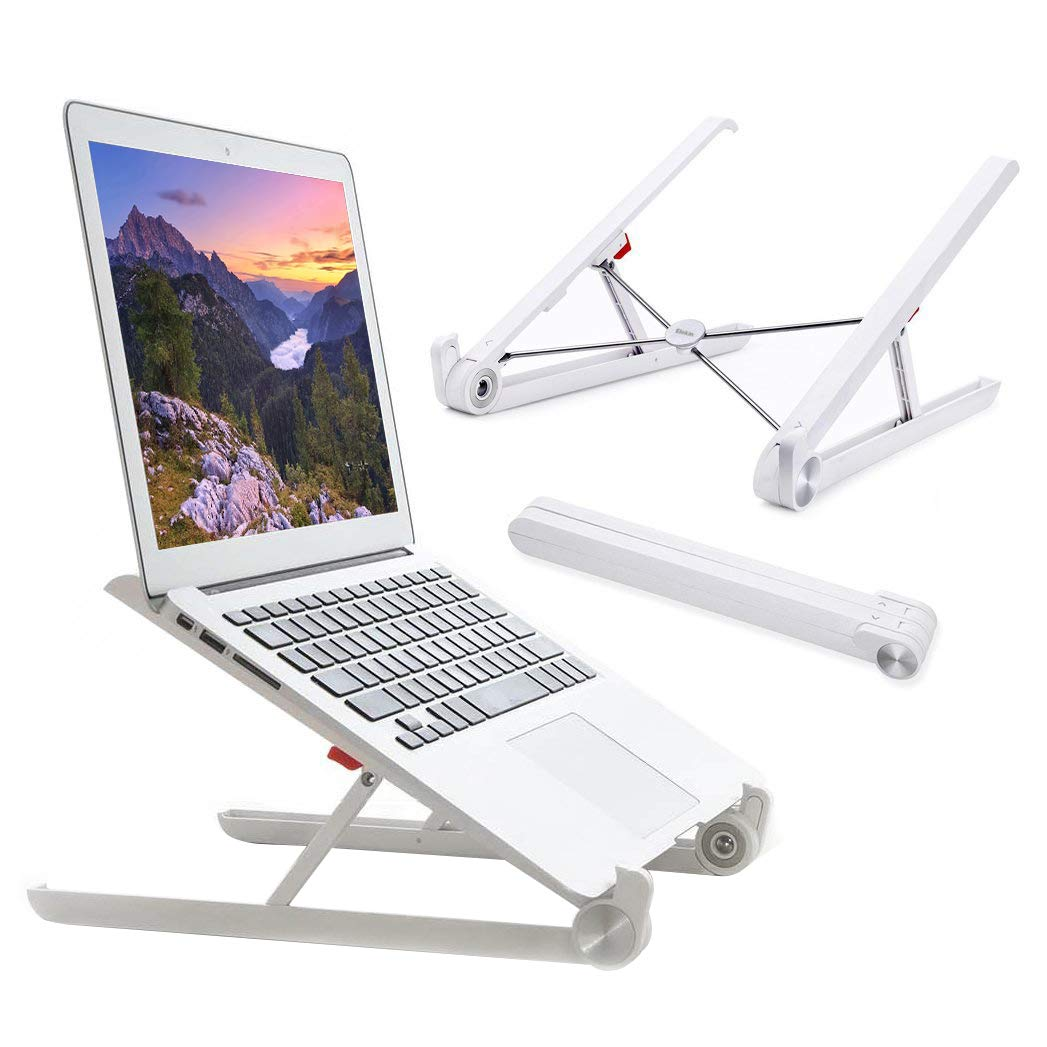 Elekin Laptop Stand Desk, Adjustable Stand, MacBook Stand Portable Light-Weight Holder for Laptop/Notebook/Thinkpad/MacBook Pro/air, Foldable, Adjustable Height Width & Angle (White)