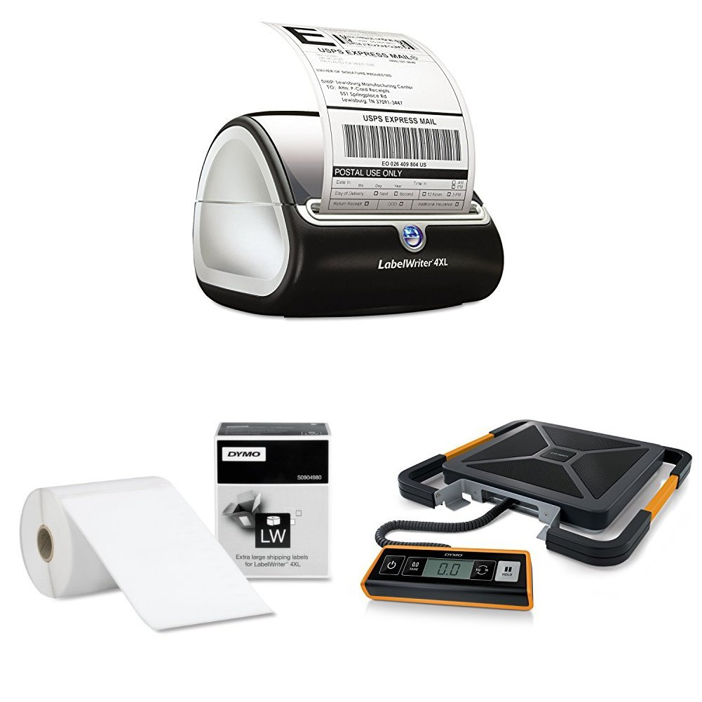 DYMO LabelWriter 4XL Thermal Label Printer (1755120) with LW Extra-Large Shipping Labels for LabelWriter Label Printers, White,roll of 220 & Digital Shipping Scale, 400-pound