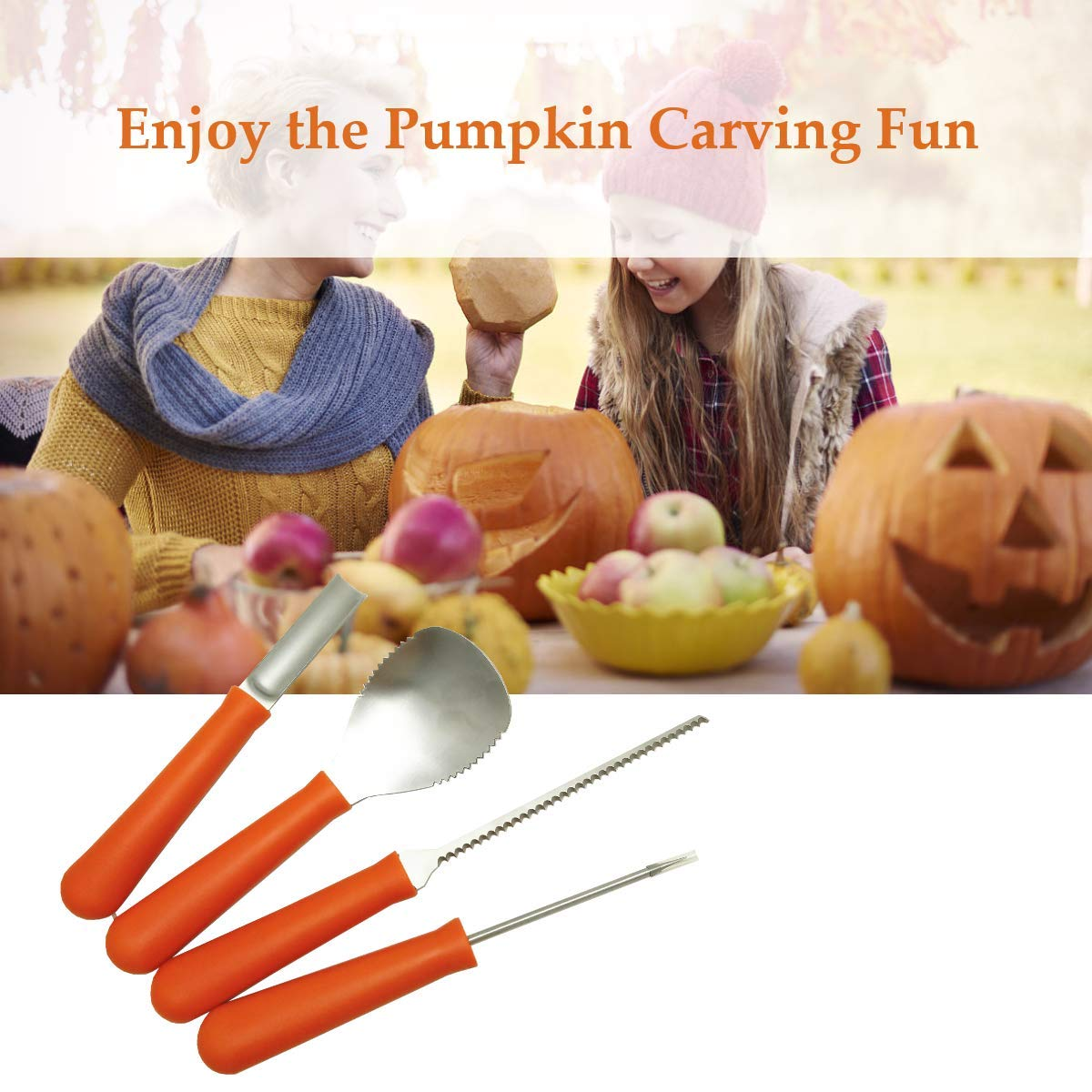 Professional Pumpkin Carving Tools Kit【Set of 4】Premium Heavy Duty Stainless Steel Knives for Easily Sculpt Halloween Jack-O-Lanterns with【Many Pumpkin Carved Stencils/Patterns/Templates】 by AUXIN (Image #5)