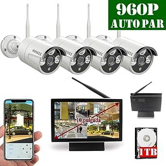 10 Pulgadas Sistema de Vídeo Vigilancia,960P Cámara Inalámbrica de Seguridad, Conjuntos de IP