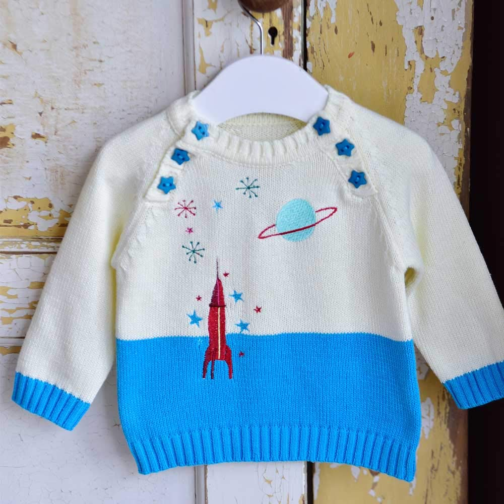 100/% Cotton.Blue Powell Craft Baby Boys Embroidered Space Jumper