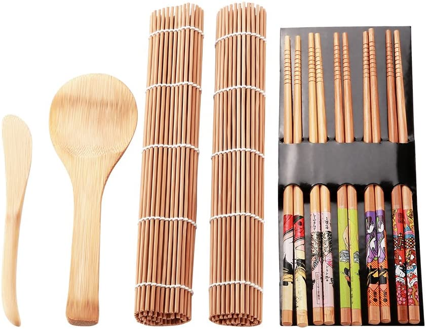 Borlai Tappetino Sushi in bamb/ù Kit per Sushi Carbonizzato 13 Pezzi Tappetino Sushi per Principianti per Alimenti