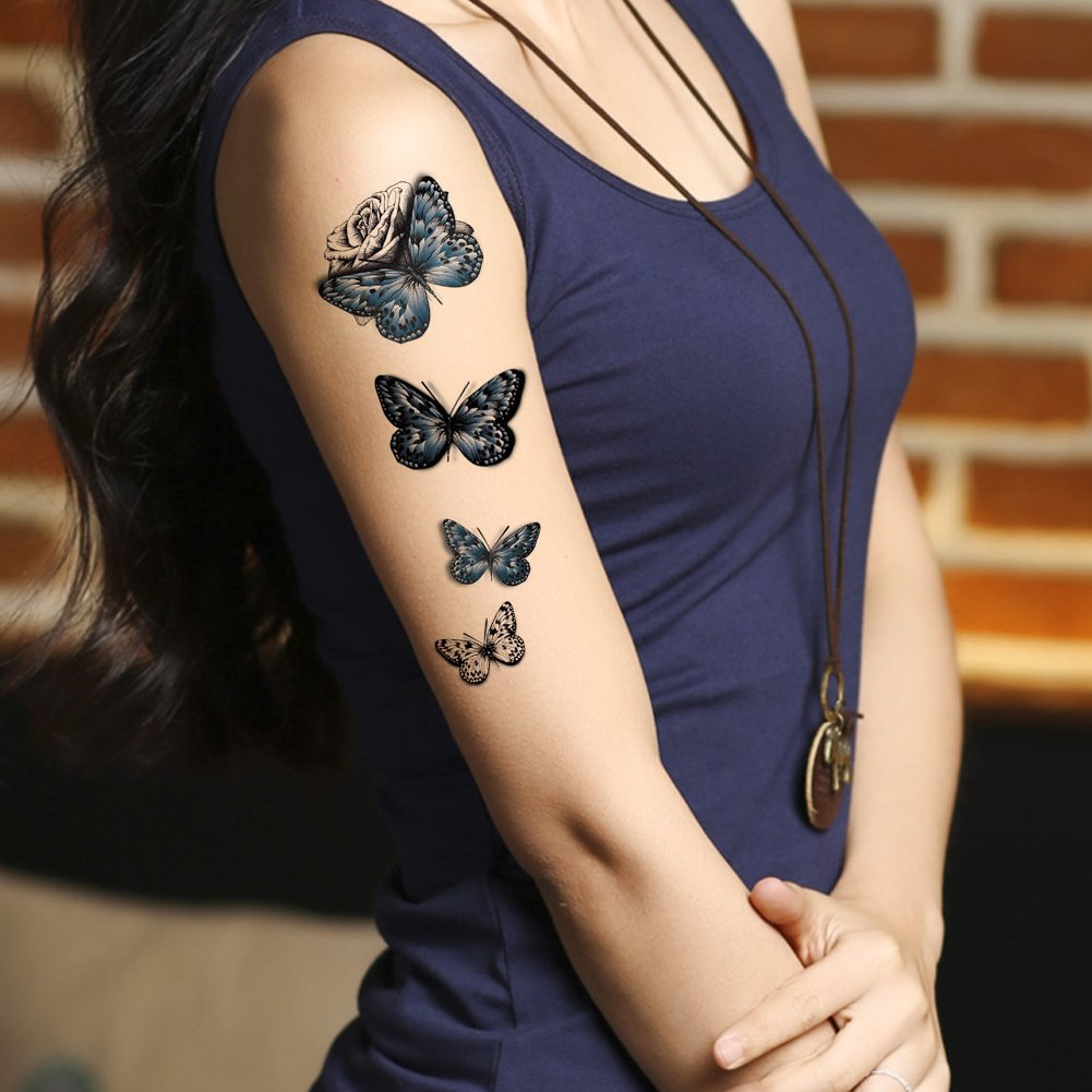 TAFLY Temporary Tattoos for Women Blue Butterfly and Black Rose Arm/Leg/Body Art Transfer Tattoos 5 Sheets