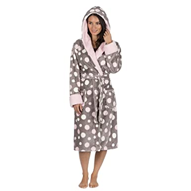 Forever Dreaming Ladies Spot Print Dressing Gown - Flannel Fleece Hooded  Night Robe Grey XL a223c114b