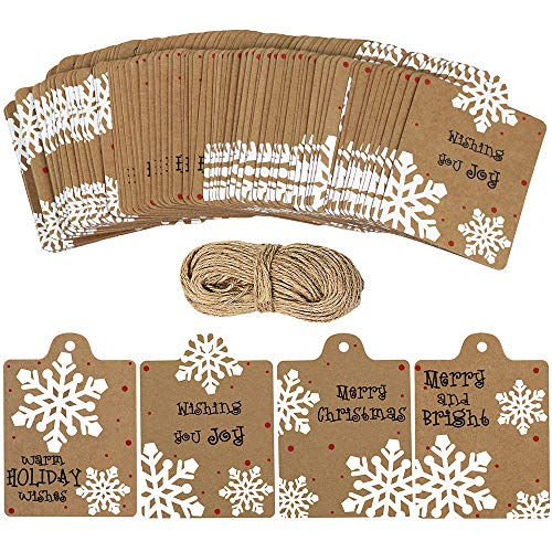 100 Pcs Christmas Winter Kraft Brown Gift Tags Label Snowflake Prints Favor Tags Rustic Treat Tags to/from Tags Merry tie-on Tags Festive Warm Wishes Cards Tags Label and 30 Yards Jute Twines String ()