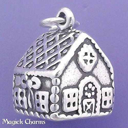 925 Sterling Silver 3-D Gingerbread House Charm Christmas Pendant Jewelry Making Supply, Pendant, Charms, Bracelet, DIY Crafting by Wholesale Charms ()