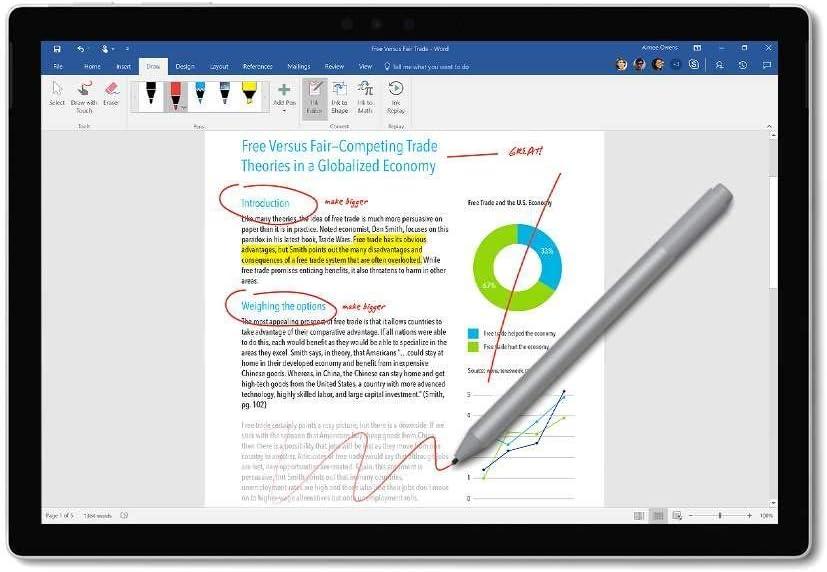Cobalt Blue Microsoft New Official Surface Pen for Surface Pro 6 Surface Laptop 2 Surface Book 2 Surface Go Studio 2 Pro 5 Pro 4 Pro 3 4096 Pressure Tail Eraser Barrel Button Bluetooth 4.0