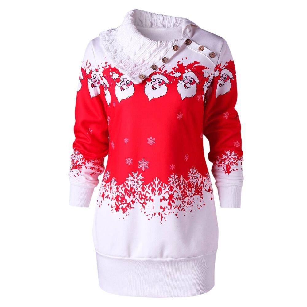 Women Sweatshirt Dress for Winter Women Merry Christmas Snowflake Sinzelimin