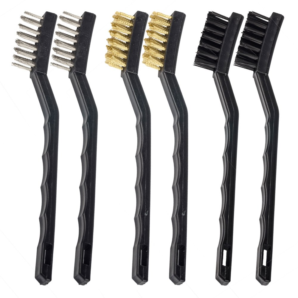 Eagles(TM) 6pcs set(2Stainless Steel +2Brass+2Nylon) Wire brush for cleaning and removing loose paint, scale and rust