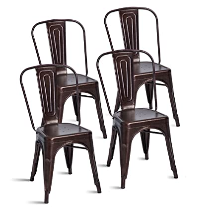 Merax Stackable Metal Dining Chairs Steel Side Chairs With Back, Set Of 4  (Antique