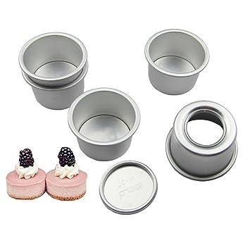 Dealglad Mini de aluminio redonda cupcake gasa Cake Pan Cheesecake Pudding molde con extraíble en la parte inferior: Amazon.es: Hogar