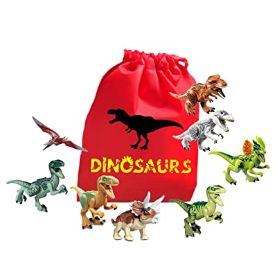 fat cat sales Mini Dinosaur Action Figure Educational Building Block Playset with Nylon Drawstring Bag for Quick Clean Up.: Toys & Games