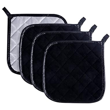 Pot Holders Cotton Made Machine Washable Heat Resistant Coaster Pot Holder for Cooking and Baking (4, Black)