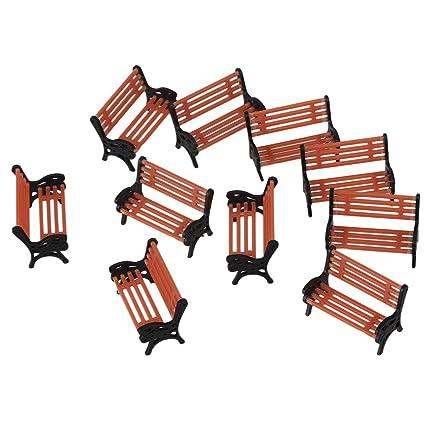 Amazon.com: 10 sillas de parque modelo 1:75 ABS modelo ...