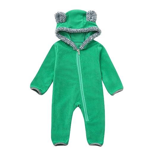 93b9f9076dea Fiaya Infant Toddler Baby Girls Boys Hairball Cartoon Ears Hoodie Romper  Zip Jumpsuit Onesie Snowsuit Warm