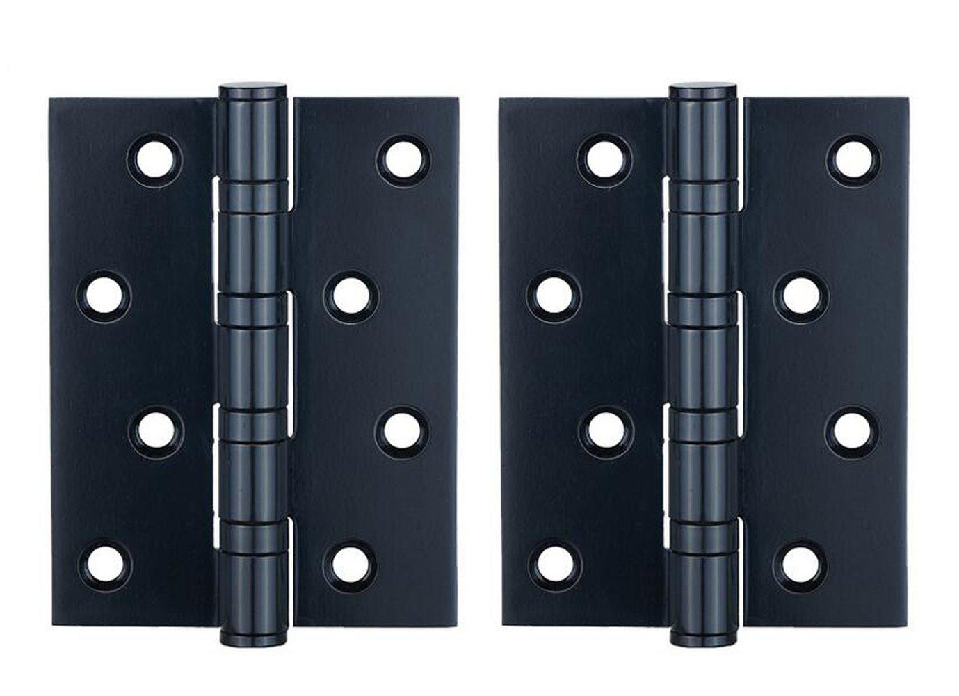 2Pcs 4inch Door Hinges Ball Bearing Hinge Stainless Steel Folding Butt Hinges Tone Home Furniture Hardware (Black)